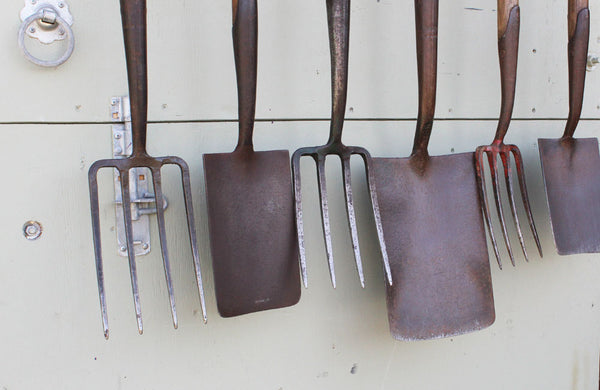 A Rack of 6 Vintage Spades and Forks