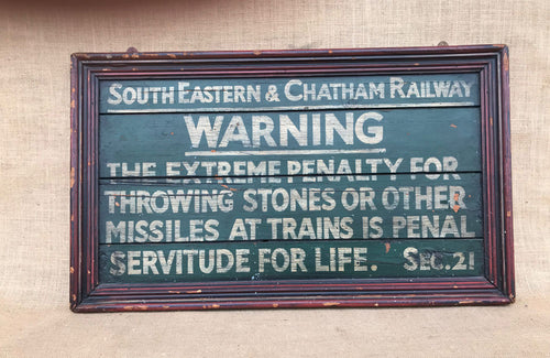 A Painted Railway Sign in Moulded Frame