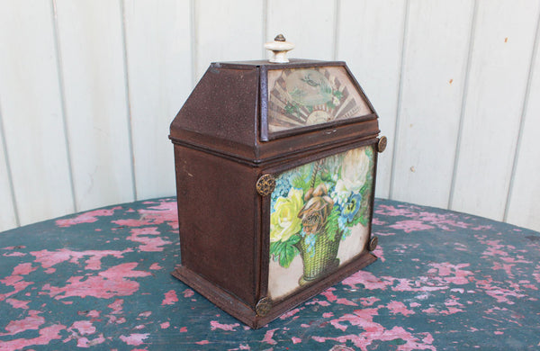 Victorian Tin Tea Caddy with a Decoupage Front