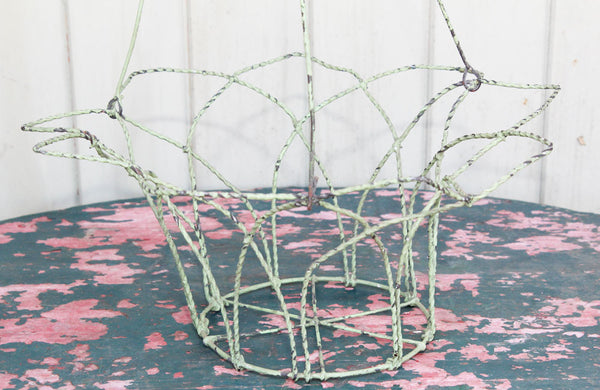 Victorian Wire Hanging Basket with Apple Green Paint