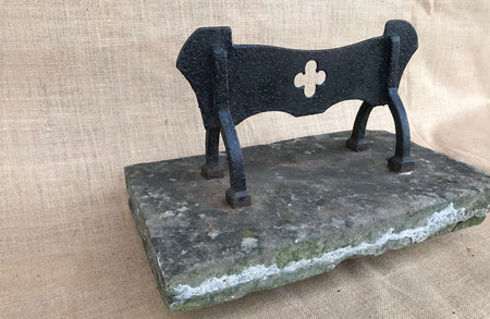 A Victorian Wrought Iron boot Scraper with Fleur de Lys Scrolls