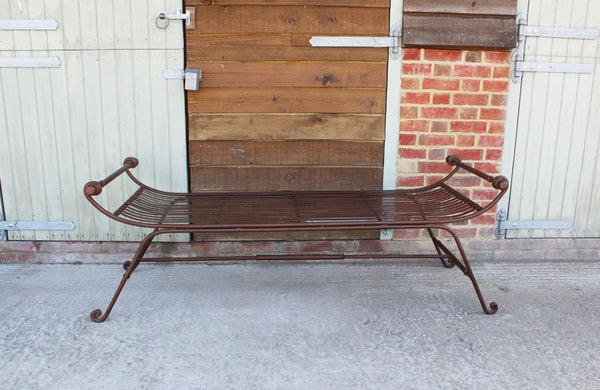 Vintage Iron Bench with Slated Seat with Scrolled Ends