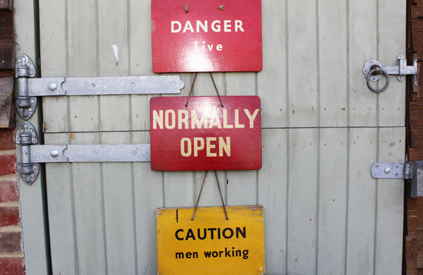 "Vintage Power Station Sign ""Normally Open"""