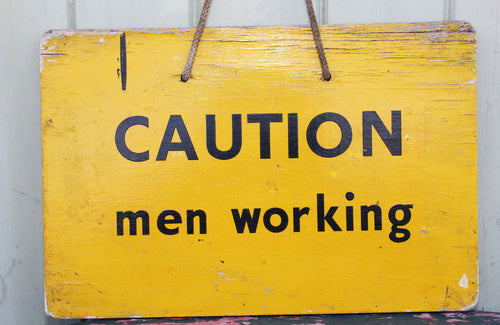 "Vintage Painted ""Men Working"" Powerstation Sign"