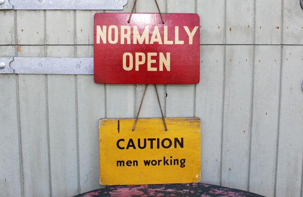 "Vintage Painted ""Men Working"" Power Station Sign"