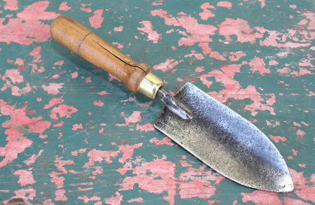 A Vintage Steel Hand Fork with Turned Beech Wood Handle