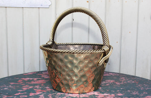 Vintage Brass Basket with Rope Twist Handle