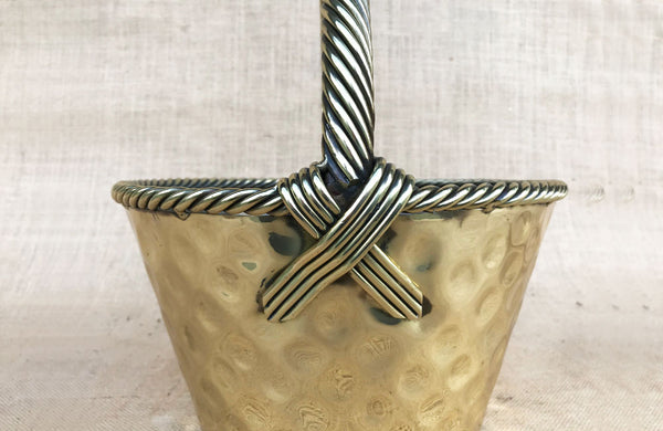 Vintage Brass Basket with Twist Turned Handle Straps