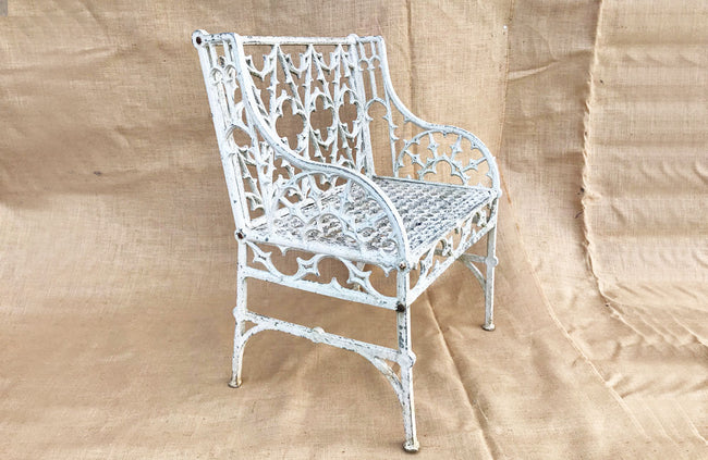A Mid 20th C Painted Gothic Style Garden Seat