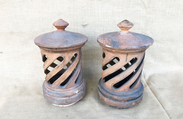 A Pair of Antique Terracotta Chimney Pots with Removable Lids