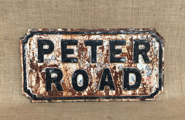 Cast Iron Street Sign of Peter Road