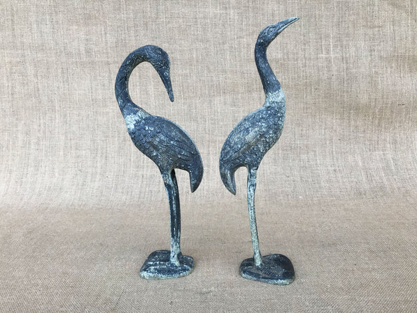 A pair of vintage spelter cranes