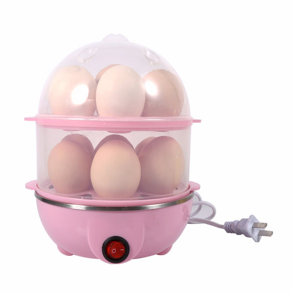 New Multi-functional Double-Layer Electric Eggs Boiler Cooker Steamer Home Kitchen Use 220V