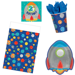 Blast Off 2nd Birthday Party Supplies - Basic (16 guests)