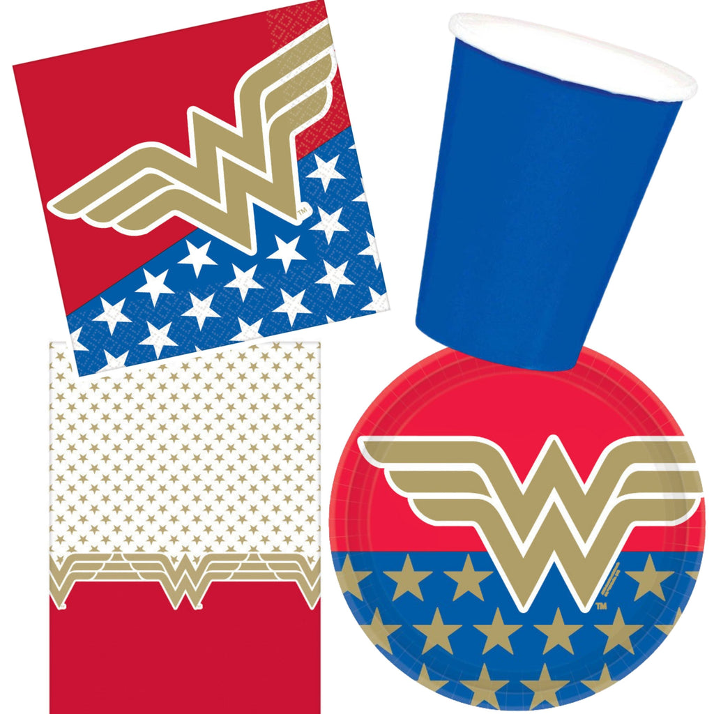Wonder Woman Birthday Party Supplies Party Pack Girls Birthday Party Decorations Bundle Includes Paper Plates, Napkins, Plastic Table Cover, Cups and Birthday Party Planning eBook