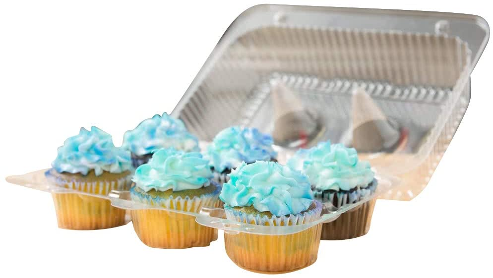 Cupcake Containers Plastic Disposable 6 Compartment High Dome Clear Hinged Tray (20 Pack)