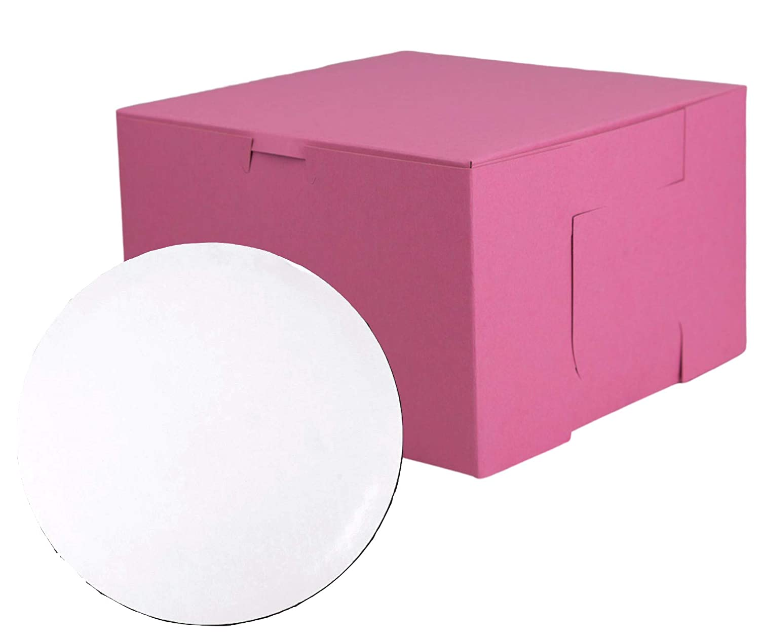 Bakery Boxes and Circles Bundle | Includes 20 8x8x5 Pink Disposable Cake Boxes and 20 8 inch Cardboard Grease Proof White Rounds | Great Container for Cookies Pastry or Cakes