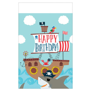 Ahoy Boy First Birthday Supplies Bundle 50 Pieces | Pirate Themed 1st Birthday Pack for 16 Guests | Includes Plates, Napkins, Cups, Table Cover and Party Planning eBook