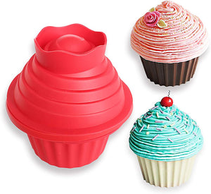 Giant Cupcake Silicone Mold and Cake Decorating Kit Bundle | Large Non-Stick Bake Pan | Create Uniquely Fun Cup Cakes | Great for Baking Cakes for Birthdays or any Special Occasion