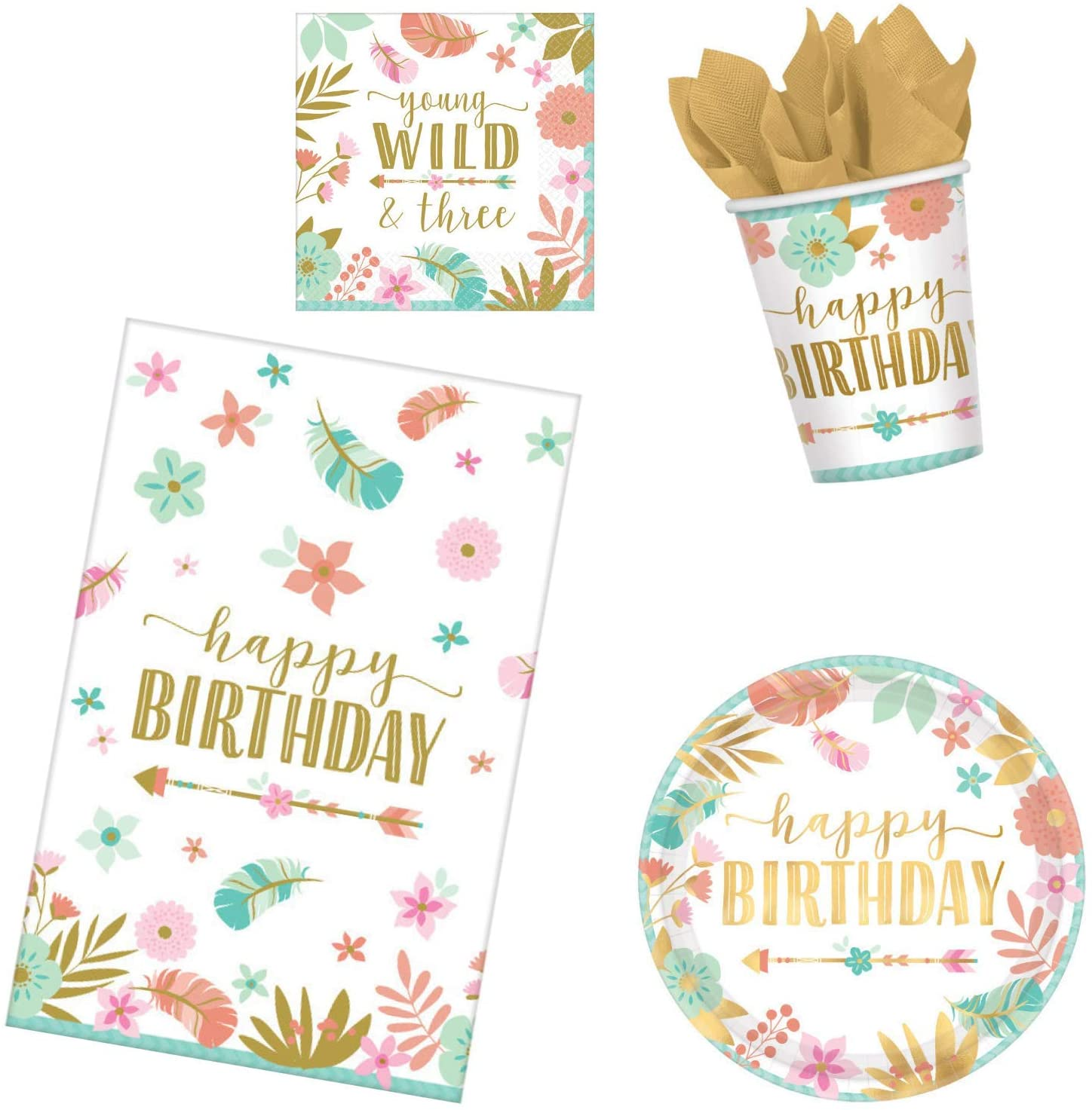 BOHO 3rd Birthday Party Supplies Pack for 16 Guests | Girl Young Wild and Three Theme