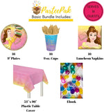 ParteePak Princess Belle Party Supplies Bundle for 16 Guests with Party Planning eBook