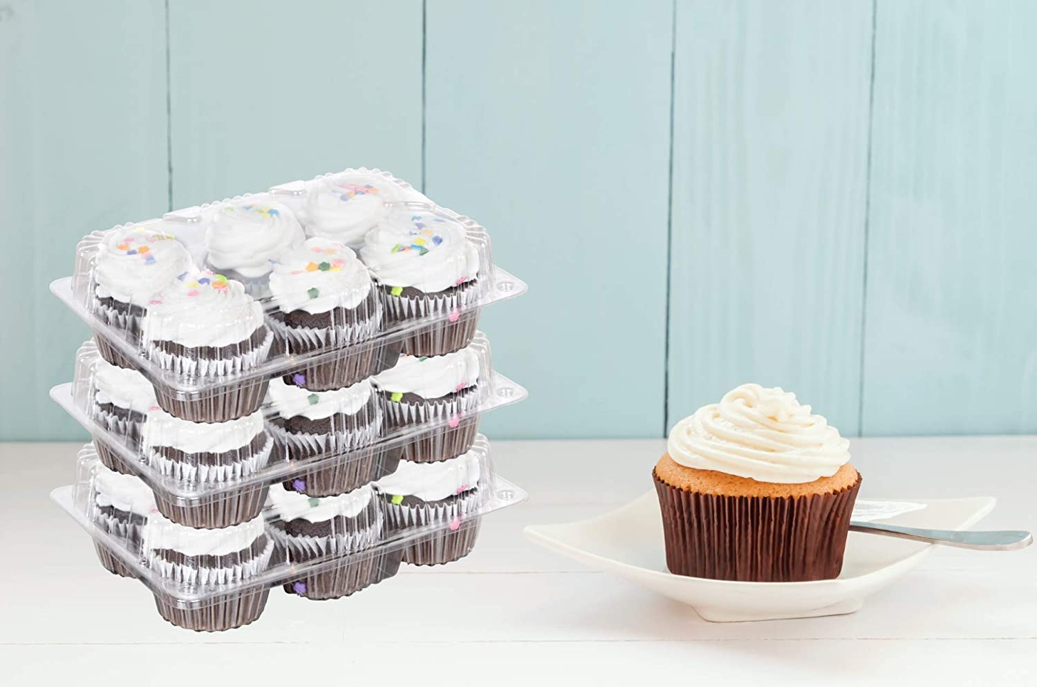 Disposable Cupcake Tray Plastic Clamshell Design Container with Lid Holds 6 Cup Cakes or Muffins (20 Pack)