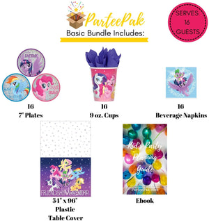 My Little Pony Party Bundle | Friendship Adventure Birthday Party Supplies Pack for 16 Guests | Includes Disposable Plates, Napkins, Cups, Table Cover and Party Planning eBook