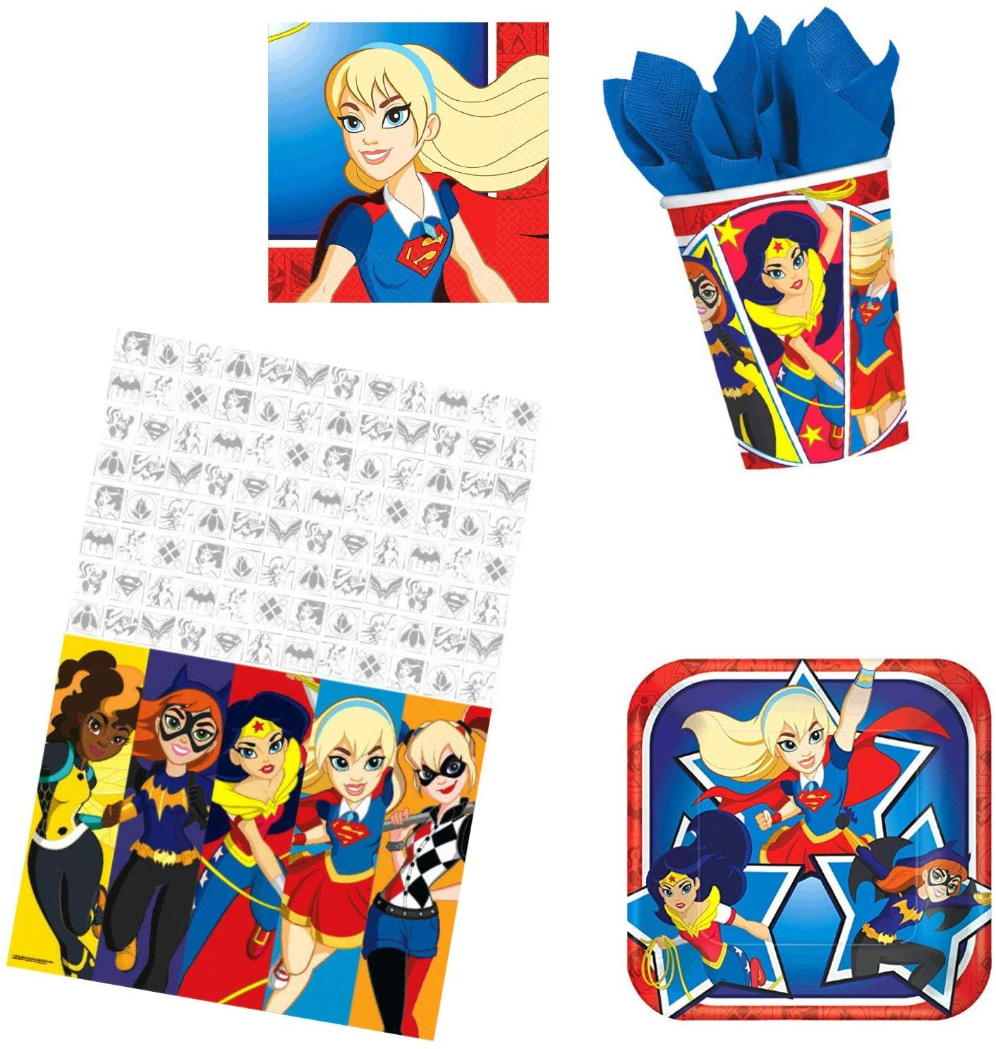 Super Hero Girls Birthday Party Supplies Bundle Pack for 16