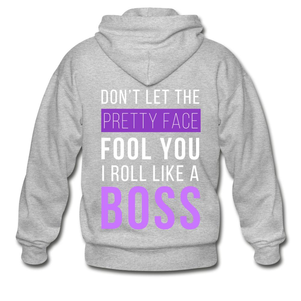 Don't Let Pretty Face Fool You Zip Hoodie - deep heather