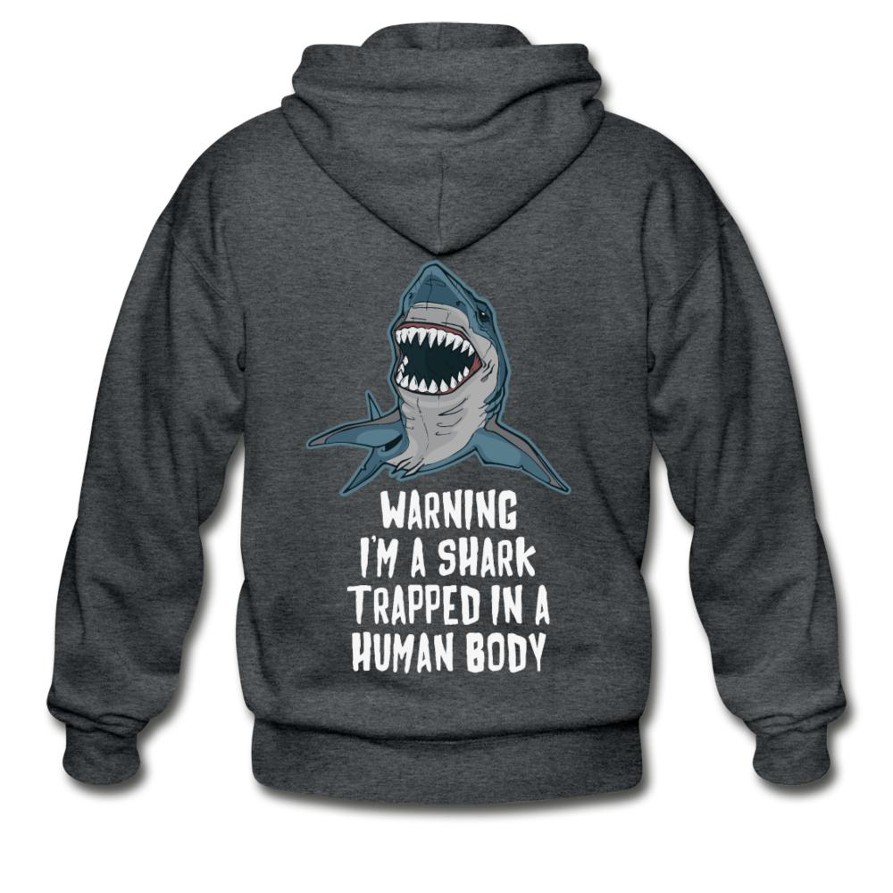 I Am a Shark Trapped in Human Body  Zip Hoodie - black
