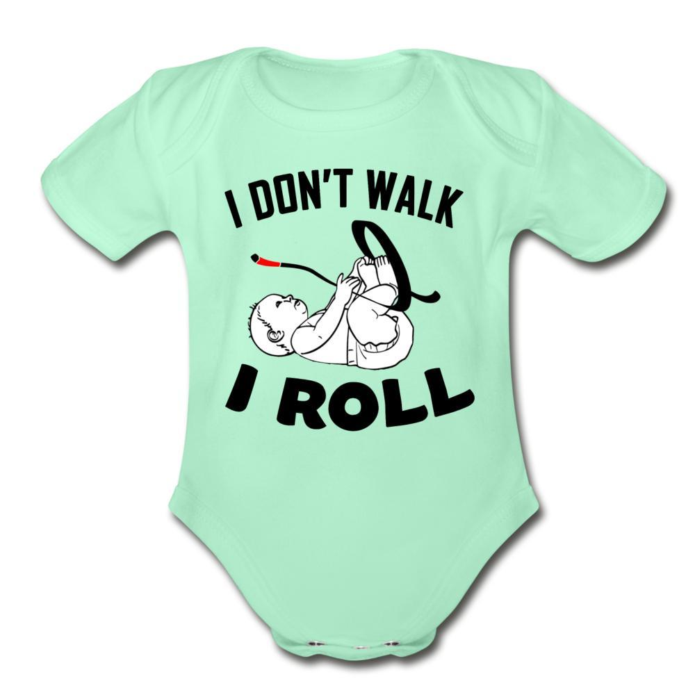 I Don't Walk I Roll Organic Short Sleeve Baby Bodysuit - heather gray