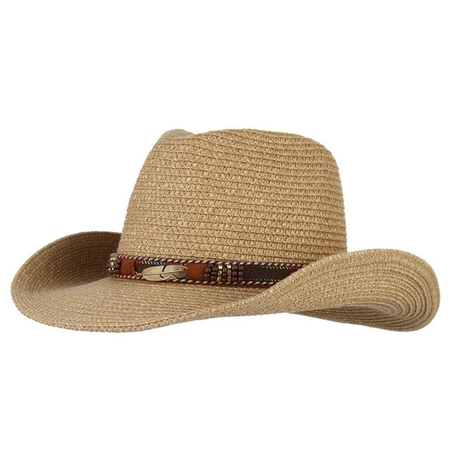 fa05fa70ea9a7 Vintage Western Cowboy Hat Straw Hats Alloy Feather Beads Jazz Cap Wide Brim  Sun Caps