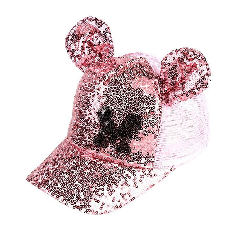 593b5808393 Hot Sequins Ear Hats Kids Snapback Baseball Cap With Ears Funny Hip Hop Hats
