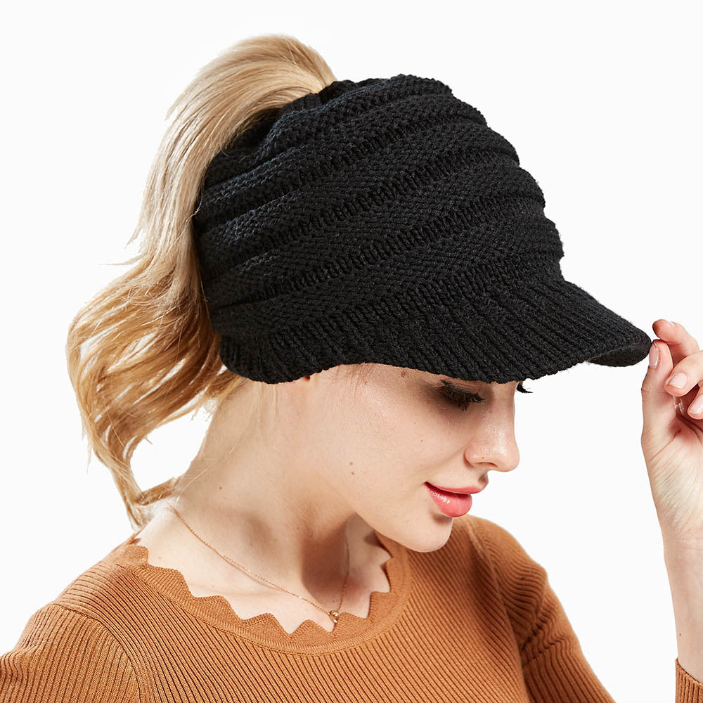 8f74be2e5 Ponytail Caps Women Winter Warm Knit Thicken Hat Wool Snow Ski Caps with  Visor