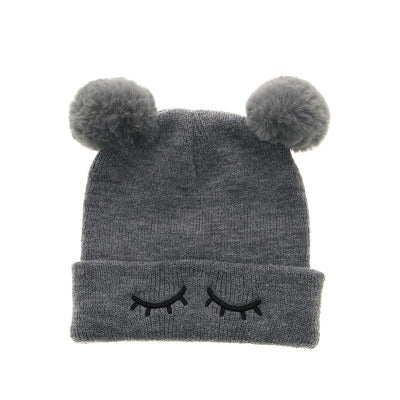 13ca3b489c9 Winter Beanie Hats For Kids Cap Children Boys Girls Faux Fox Fur Pompom Hat  Cute Embroidery