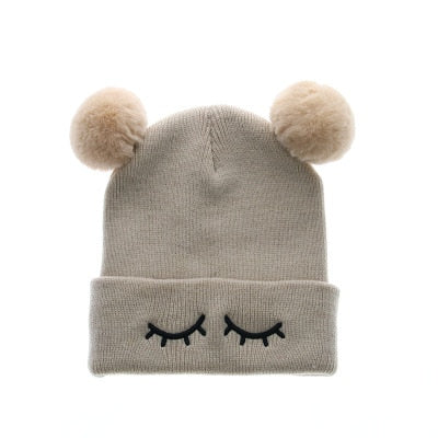 e127d7c9993 Winter Beanie Hats For Kids Cap Children Boys Girls Faux Fox Fur Pompom Hat  Cute Embroidery