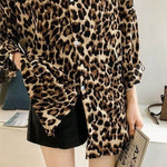 Long Sleeve Leopard Printed V Neck Tunic