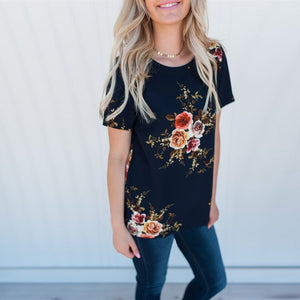 Short Sleeve Floral Print O Neck Top