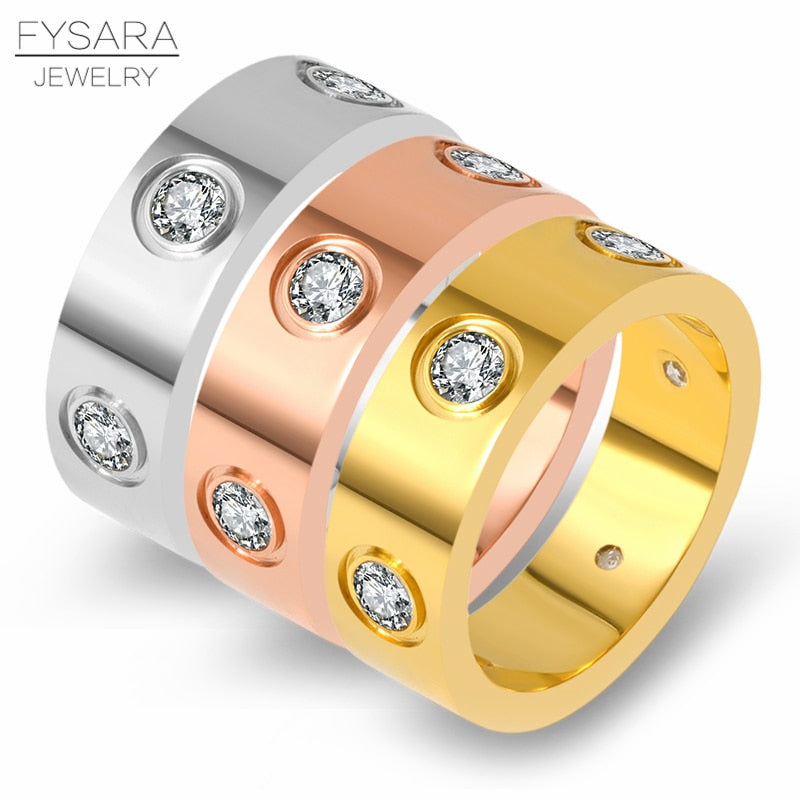 FYSARA Trendy Stainless Steel Rose Gold Color Love Ring for Women Men Couple CZ Crystal Rings Luxury Brand Jewelry Wedding Gift