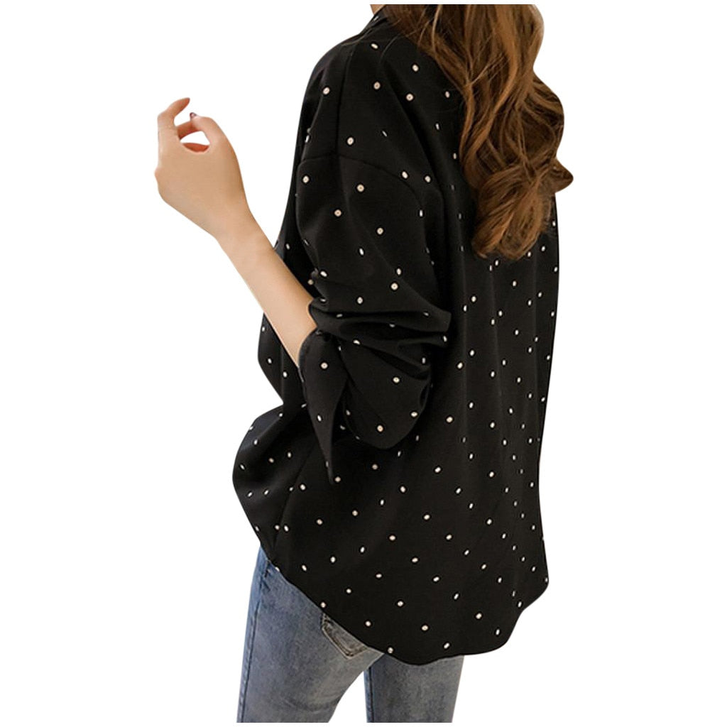 Long Sleeve Polka Dot Turn Down Collar Blouse