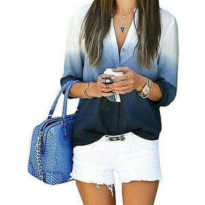 Long Sleeve Loose Solid Ombre Shirts