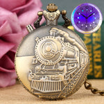 Steamengine Carved Bronze Steampunk Analog  Fob Watch