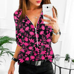 Spring Office Shirt Vintage Floral Print Zipper V Neck Chiffon Blouse Autumn Long Sleeve Women Blouses Plus Size Tops  Mujer