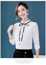 Spring Autumn Shirts Korean Women Blouse Work Tie Ruffles Blouses Casual Top Office Solid Color Lady Chiffon Shirt Blusas Mujer