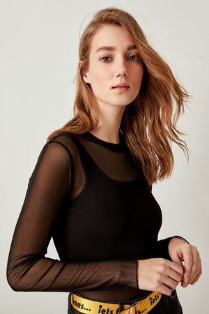 Black Knitted Transparent Tops