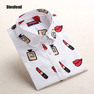 Long Sleeve Turn Down Collar Floral Printed Shirts