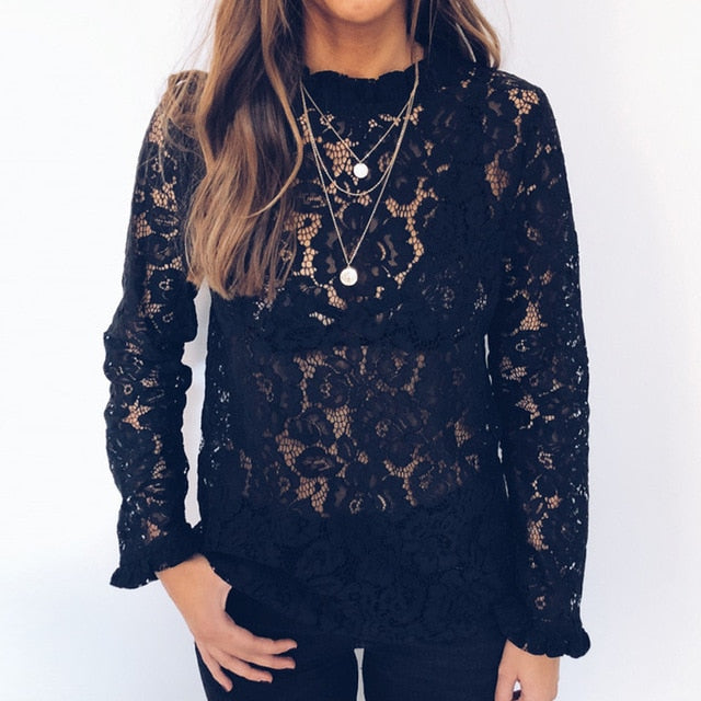 Long Sleeve Floral Hollow Out Lace Blouse