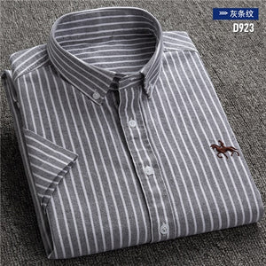 Short sleeve 100% cotton oxford soft comfortable regular fit plus size quality summer business men casual shirts