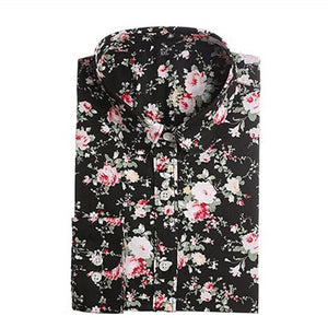 Dioufond Women Summer Blouses Vintage Floral Blouse Long Sleeve Shirt Women Camisas Femininas Female Tops Fashion Cotton Shirt