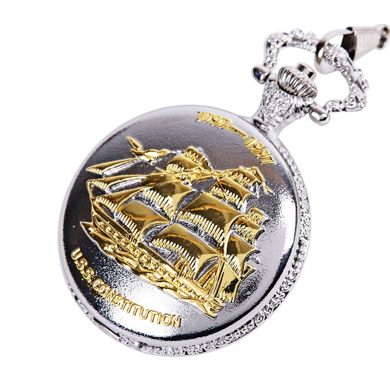 Sailing Boat Silver Analog Fob Watch